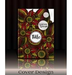 Cover template with hand drawn flowers vector