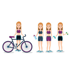 Female athletes with bicycle and weight lifting vector