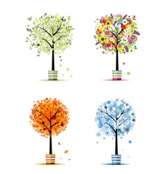 Four seasons - spring summer autumn winter vector image vector image