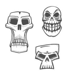 Halloween artistic skull icons set vector
