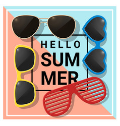 hello summer background with colorful sunglasses vector image vector image