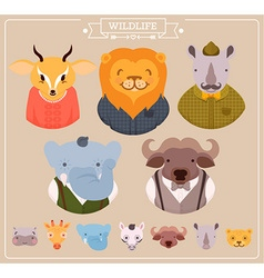 Hipster animal icon set vector