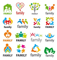 large collection of logos family vector image