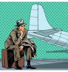 Male passenger waiting for a flight at the airport vector image
