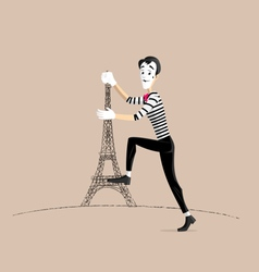 Mime performance - climbing the tower vector