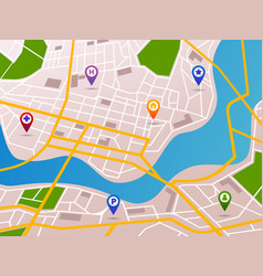 Navigation maps with gps pins icons vector