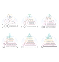 Outline pyramids with 3 - 8 steps levels vector