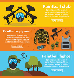 Paintball club banner horizontal set flat style vector