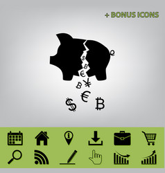 Pig money bank sign black icon at gray vector