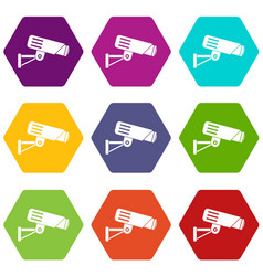 security camera icon set color hexahedron vector image