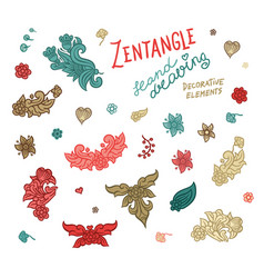 Set hand drawing zentangle elements vector