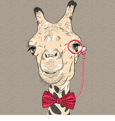 Sketch closeup portrait of funny giraffe hipster vector