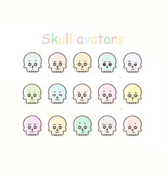 Skull avatar icons vector