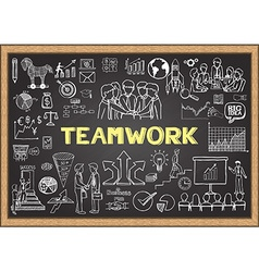 Teamwork on chalkboard vector image vector image