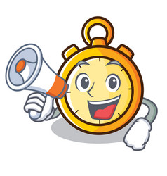 With megaphone chronometer character cartoon style vector