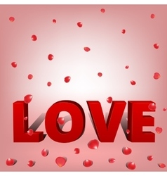 Word love with petals vector