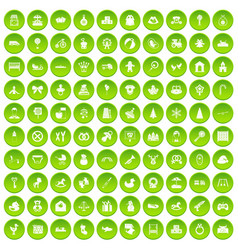 100 baby icons set green vector