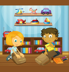Boy and girl packing schoolbags vector