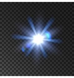 Star light flash glowing beams vector image