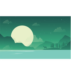 at night mountain scenery with deer silhouette vector image