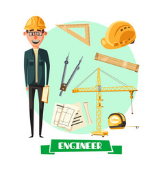 engineer with tool icon for profession design vector image