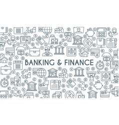 Banking and finance thin line banner vector