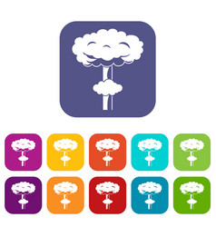 Nuclear explosion icons set vector