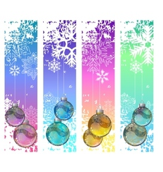 Four abstract vertical winter banners with balls vector