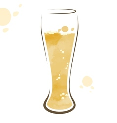 Glass of beer watercolor drawing vector