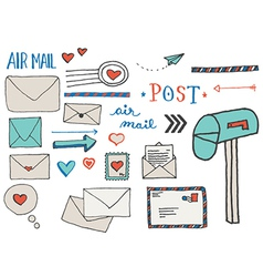 Mail and postage doodle clip art vector