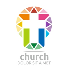 Logo chruch croos christian icon symbol abstract vector
