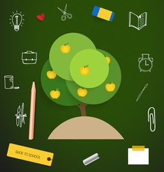 Welcome back to school with apple tree vector