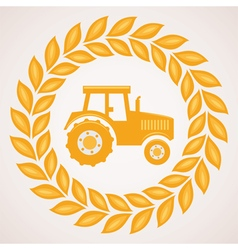 Wheat border with symbol of tractor inside vector