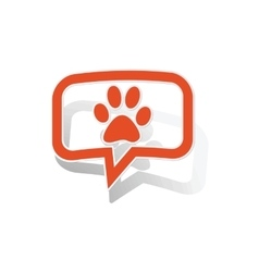 Animal message sticker orange vector