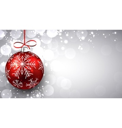 Silver christmas background with red ball vector