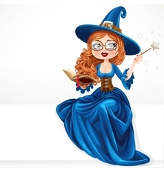 Beautiful witch wearing in blue dress holding a vector