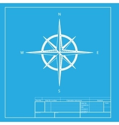 Wind rose sign white section of icon on blueprint vector
