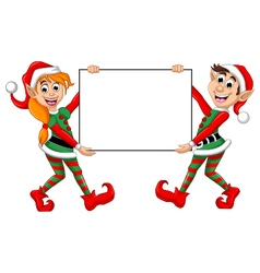 Two christmas elf holding blank sign vector