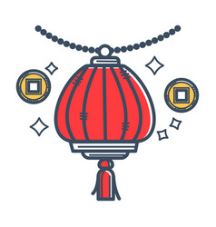 Authentic japanese paper lantern with tassel vector