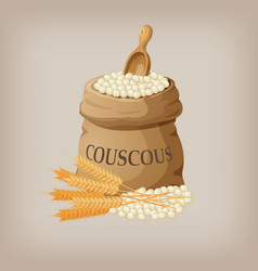 Bulgur or couscous in burlap bag vector