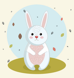 Cartoon rabbit wild animal with falling leaves vector