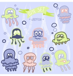 Cute baby jellyfish EPS10 vector image