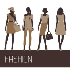 Fashion woman solhouettes vector image