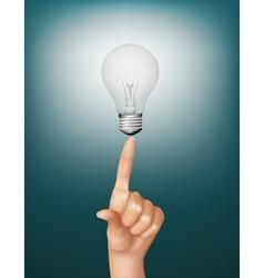 Finger touching light bulb vector