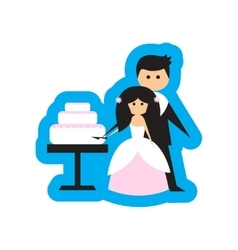 Flat web icon on white background bride groom cake vector