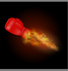 flying sport burning red glove with fire flame vector image vector image