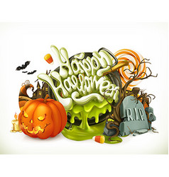 Halloween 3d emblem Set of cartoon characters and vector image