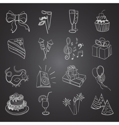 Hand-drawn party icon set vector