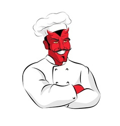 Hell of cook devils kitchen satan in chef cook vector