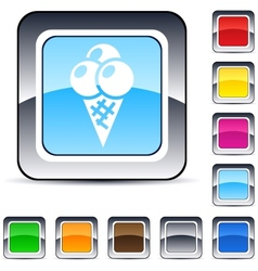 icecream square button vector image